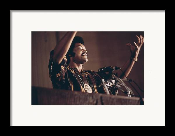 History Framed Print featuring the photograph Jesse Jackson Speaks On A Radio by Everett