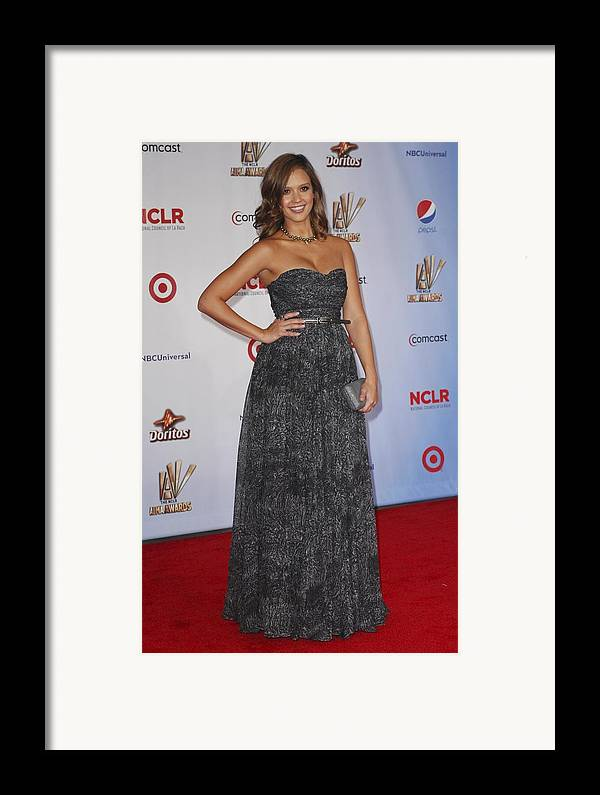 Jessica Alba Framed Print featuring the photograph Jessica Alba Wearing A Dress By Michael by Everett