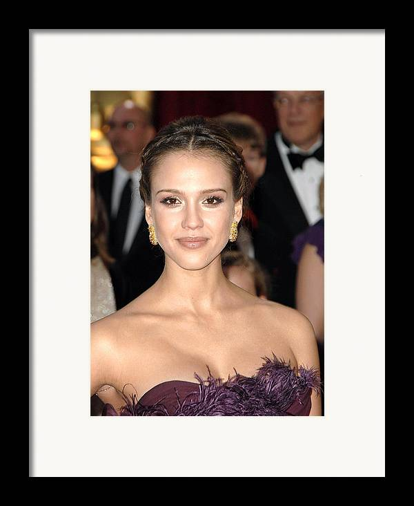 Part 2 - Red Carpet - 80th Annual Academy Awards Oscars Ceremony Framed Print featuring the photograph Jessica Alba Wearing Cartier Earrings by Everett