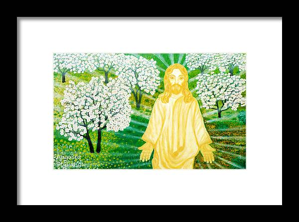 Jesus Framed Print featuring the painting Jesus On Mount Thabor by Augusta Stylianou