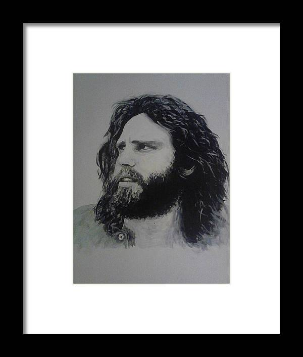 Jim Morrison Acrylia Painting Portrait Musician Black And White Framed Print featuring the painting Jim Morrison Last Year Of Life by William McCann