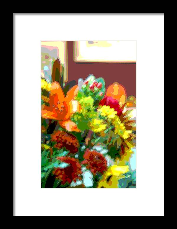 Digital Art Framed Print featuring the photograph Joannes Flowers by Suzanne Gaff