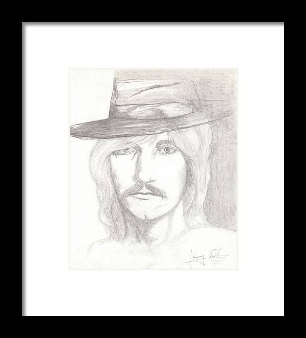 Portrait Framed Print featuring the drawing Joe Walsh by Larry Eiler