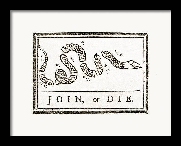 History Framed Print featuring the photograph Join Or Die French And Indian War by Photo Researchers