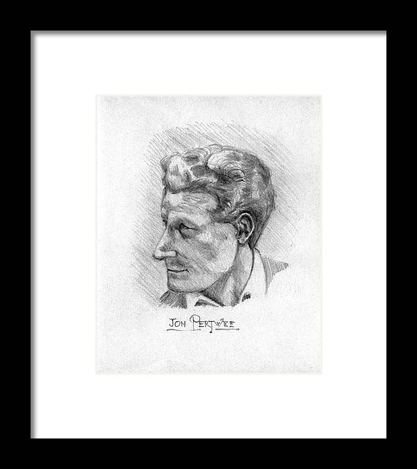Jon Pertwee Framed Print featuring the drawing Jon Pertwee 1955 by John Chatterley