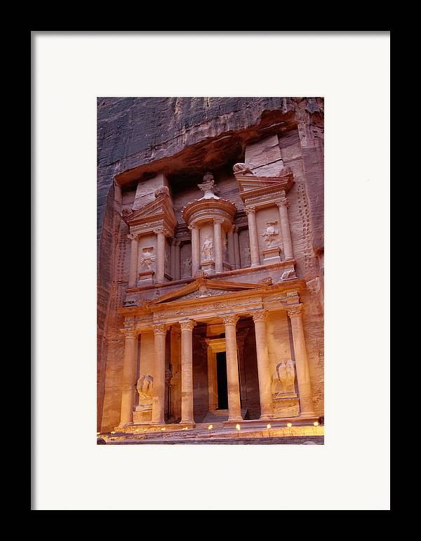 Vertical Framed Print featuring the photograph Jordan, Petra, The Treasury by Nevada Wier