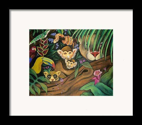 Jungle Framed Print featuring the drawing Jungle Fever by Juliana Dube