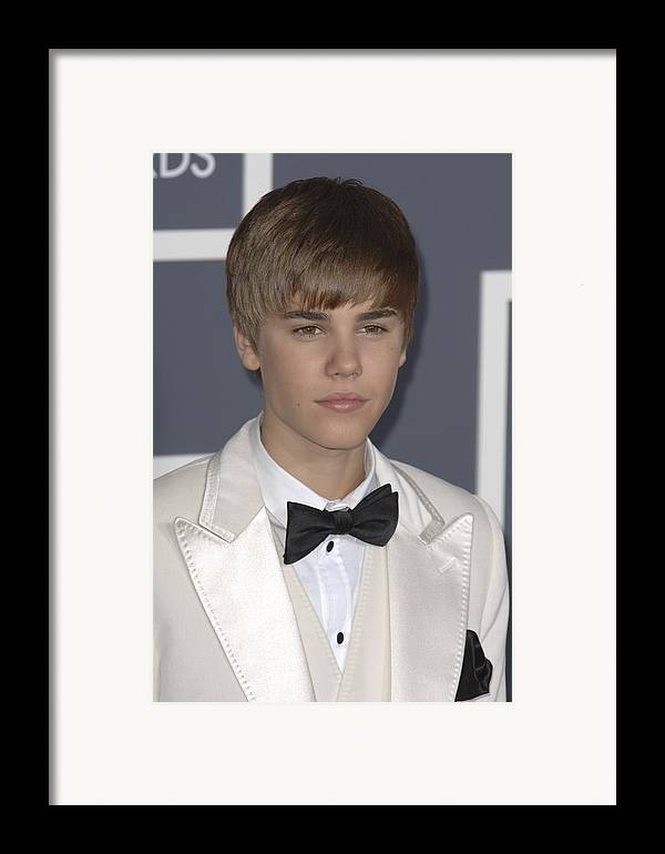Justin Bieber Framed Print featuring the photograph Justin Bieber At Arrivals For The 53rd by Everett