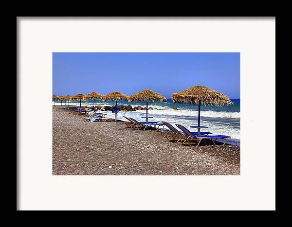 Kamari Framed Print featuring the photograph Kamari - Santorini by Joana Kruse