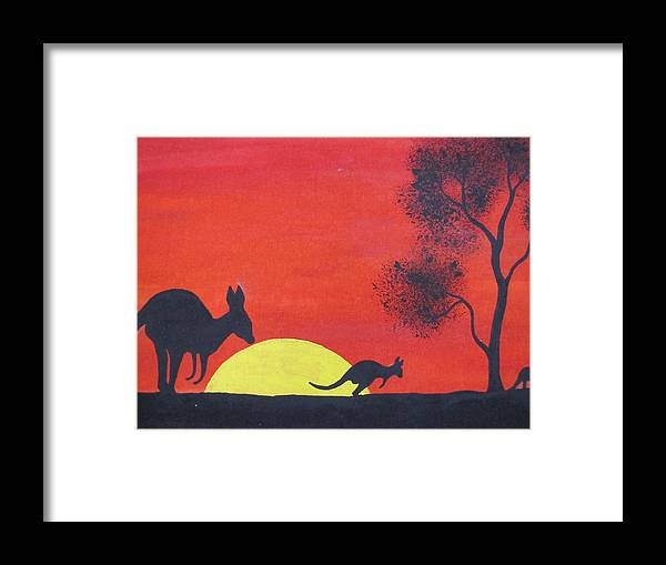 Aboriginal Framed Print featuring the painting Kangaroo Sunset by Courtney Adams