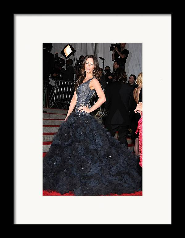 Kate Beckinsale Framed Print featuring the photograph Kate Beckinsale Wearing A Marchesa by Everett
