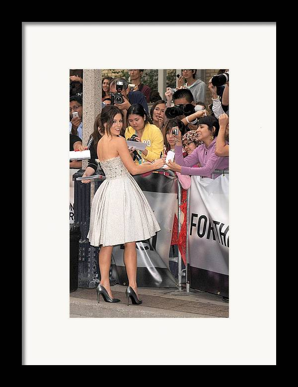 Nothing But The Truth Gala Premiere Framed Print featuring the photograph Kate Beckinsale Wearing An Elie Saab by Everett