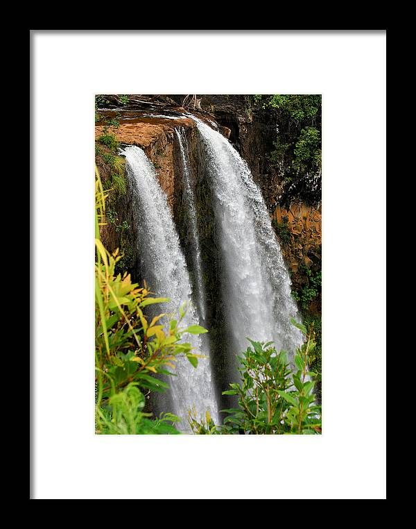 Waterfall Framed Print featuring the photograph Kauai Waterfall by Debbie Karnes