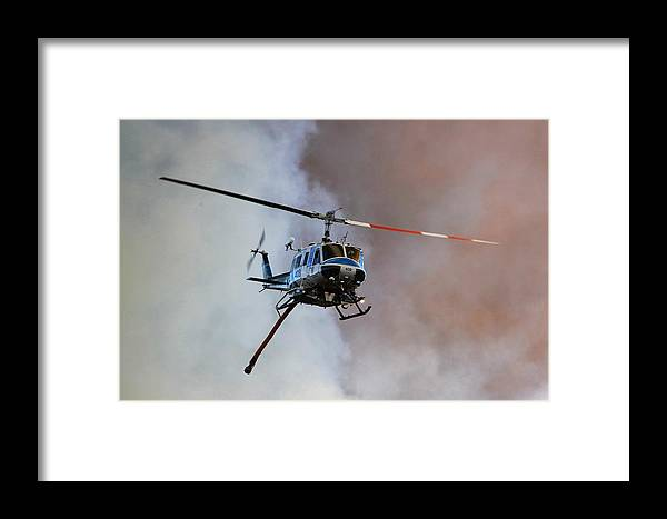 Helicopter Framed Print featuring the photograph Kern County Fire Copter #408 by Jeff Kemper