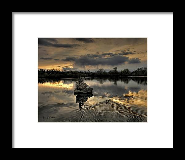 Ketring Lake Framed Print featuring the photograph Ketring Lake Sunset by Stephen Johnson