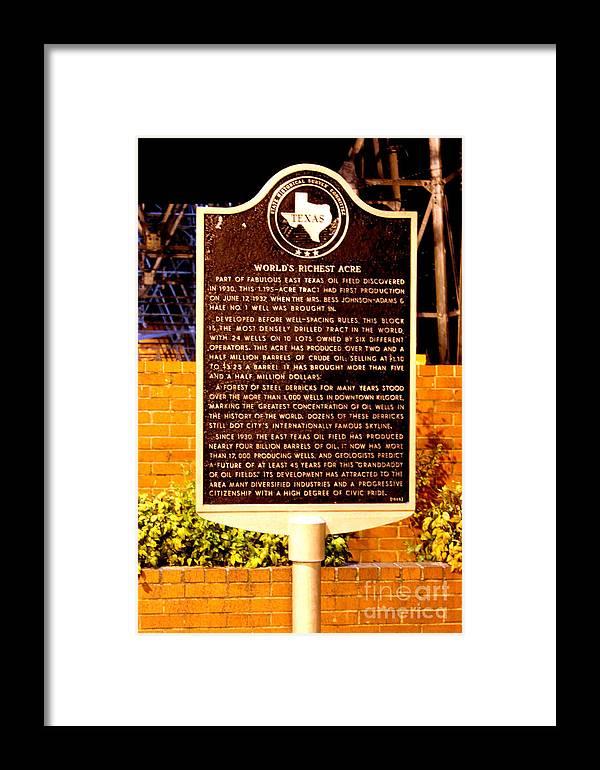Kilgore Historical Marker Framed Print featuring the photograph Kilgore Historical Marker by Kathy White