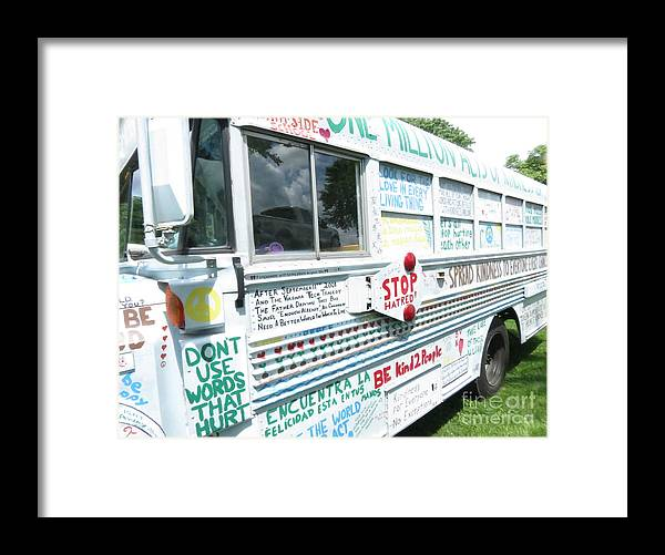One Framed Print featuring the photograph Kindness Bus 8 by Art Dingo