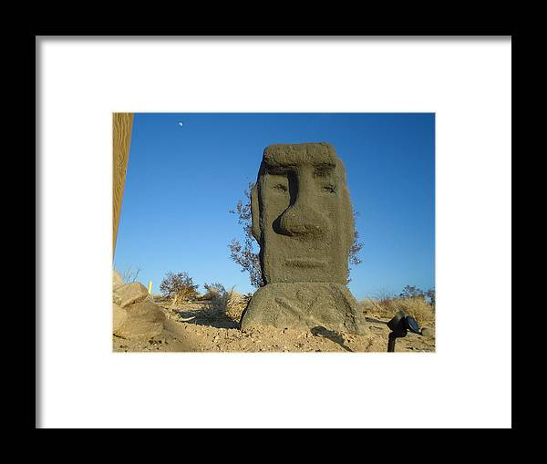 Easter Island Framed Print featuring the sculpture King Kum Kum by Jane Williams