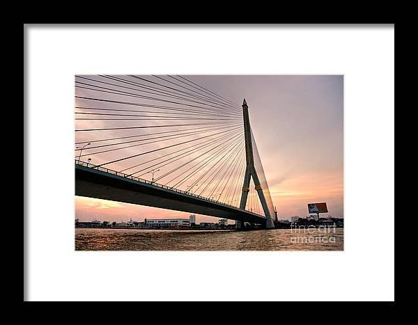 Ancient Framed Print featuring the photograph King Rama Bridge Bangkok by Luciano Mortula
