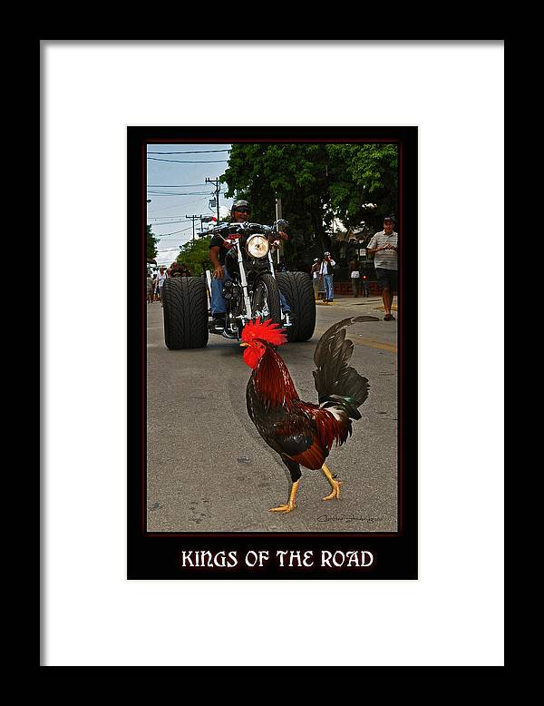 Rooster Framed Print featuring the photograph Kings of the Road by Christine Stonebridge