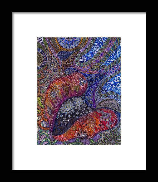 Illustrations Framed Print featuring the painting Kissing Lips by Ellie Perla