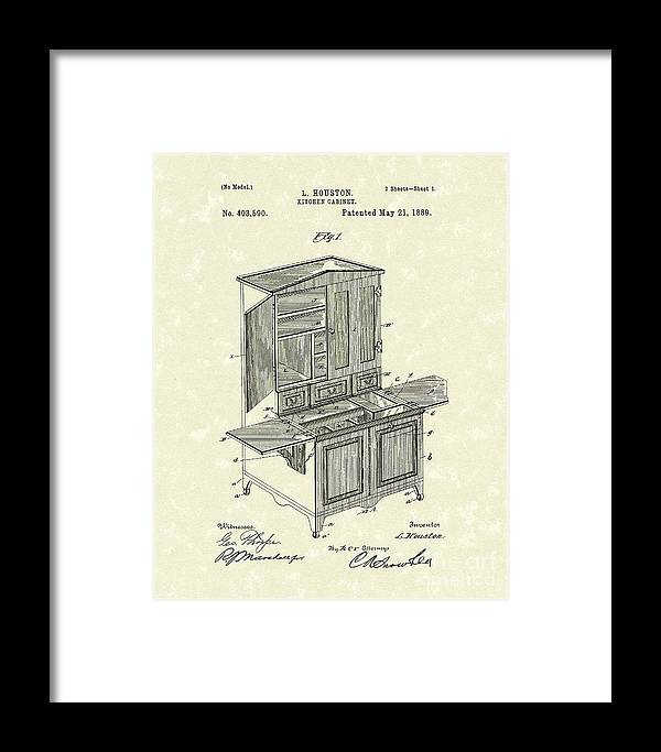 Houston Framed Print featuring the drawing Kitchen Cabinet 1889 Patent Art by Prior Art Design