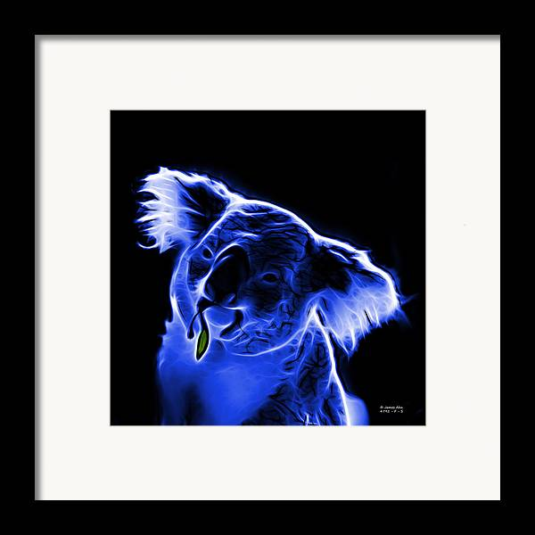 Koala Framed Print featuring the digital art Koala Pop Art - Blue by James Ahn