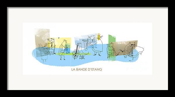 Music Framed Print featuring the digital art La Bande D'etang by Sean Hagan