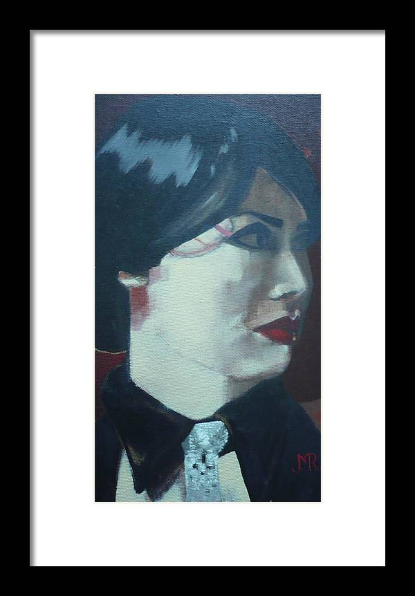 Portrait Of A Lady Framed Print featuring the painting La Diavolina by Maureen Rocksmoore