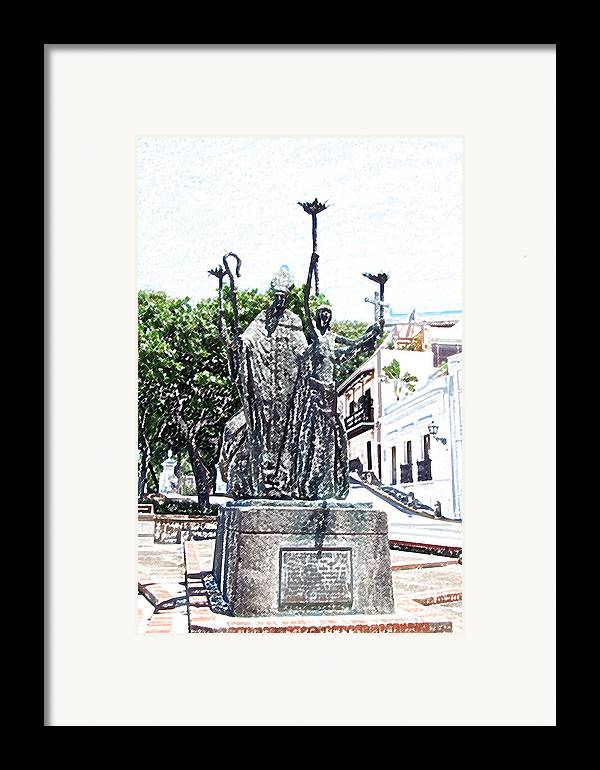Old San Juan Framed Print featuring the digital art La Rogativa Sculpture Old San Juan Puerto Rico Colored Pencil by Shawn O'Brien