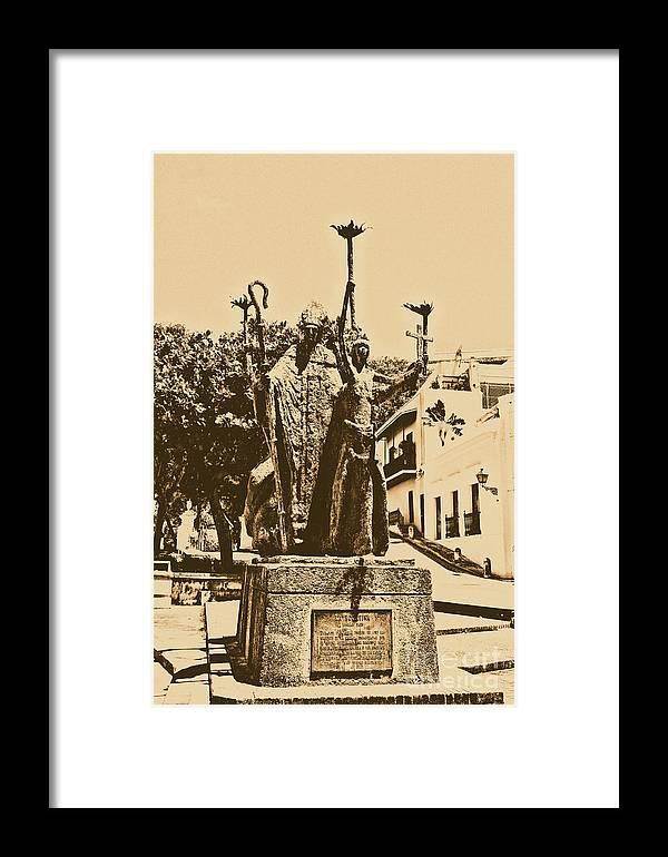 Old San Juan Framed Print featuring the digital art La Rogativa Sculpture Old San Juan Puerto Rico Rustic by Shawn O'Brien