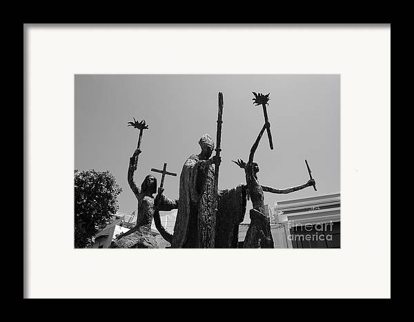 Old San Juan Framed Print featuring the photograph La Rogativa Statue Old San Juan Puerto Rico Black And White by Shawn O'Brien