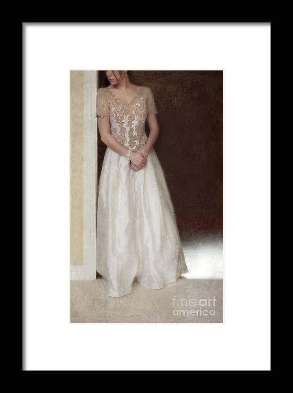 Beautiful Framed Print featuring the photograph Lacy In Ecru Lace Gown by Jill Battaglia