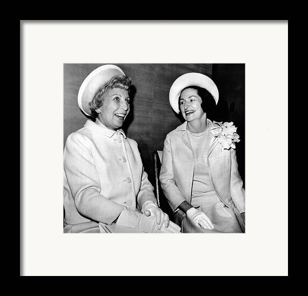 History Framed Print featuring the photograph Lady Bird Johnson And Muriel Humphrey by Everett