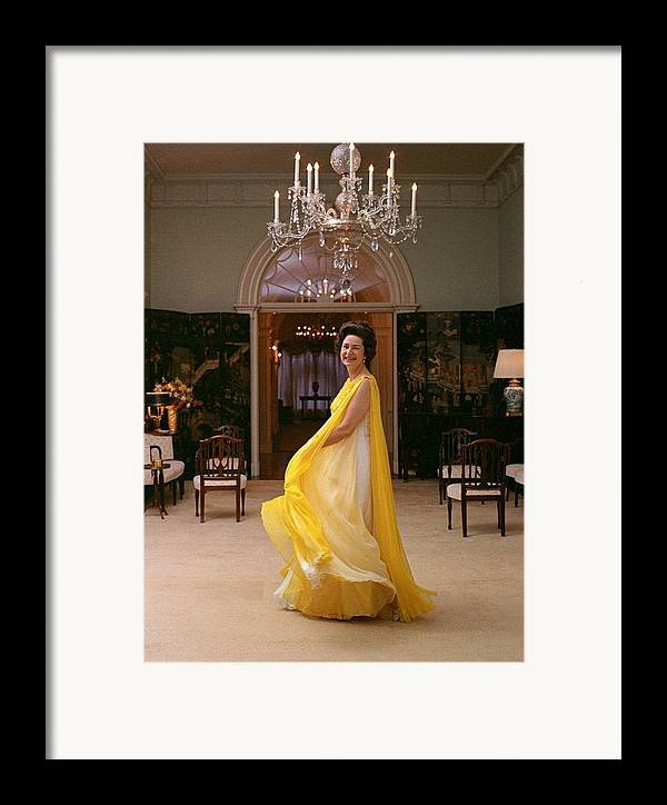 History Framed Print featuring the photograph Lady Bird Johnson In A Flowing by Everett