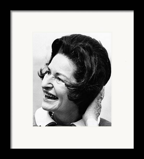 History Framed Print featuring the photograph Lady Bird Johnson Smiles As The Wind by Everett