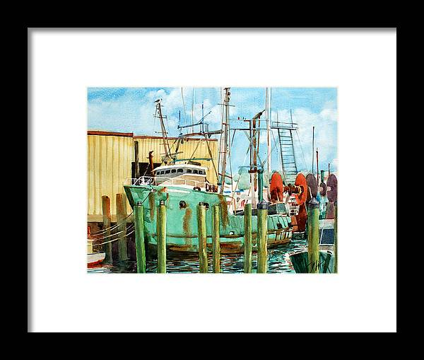 Peter Sit Watercolor Framed Print featuring the painting Lady Grace Trawler by Peter Sit