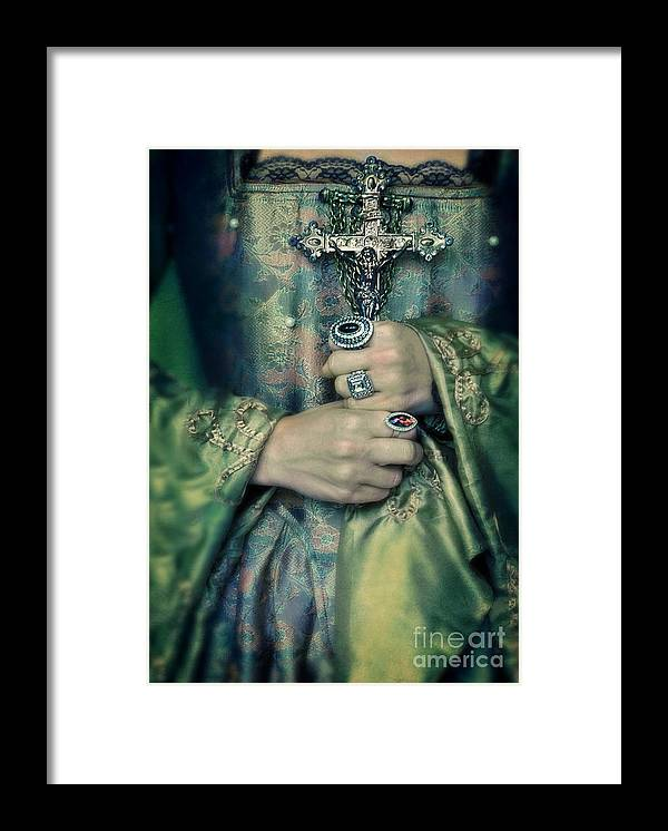 Woman Framed Print featuring the photograph Lady In Tudor Gown With Crucifix by Jill Battaglia