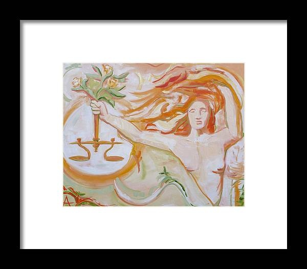 Justice Framed Print featuring the painting Lady Justice by Azhir Fine Art