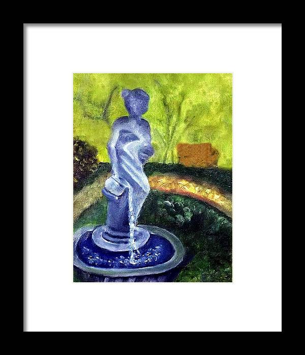 Statute Framed Print featuring the painting Lady With The Water Statute by Margaret Harmon