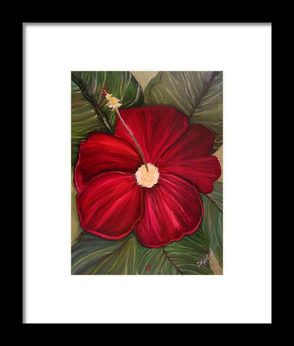 Flower Red Green Still Life Hibiscus Original Oil On Canvas Ladybug Framed Print featuring the painting Ladybug by Mary DeLawder