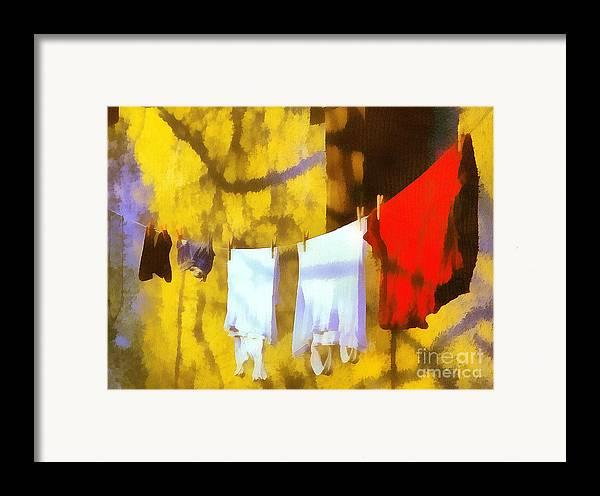 Odon Framed Print featuring the painting Laid Out To Dry by Odon Czintos
