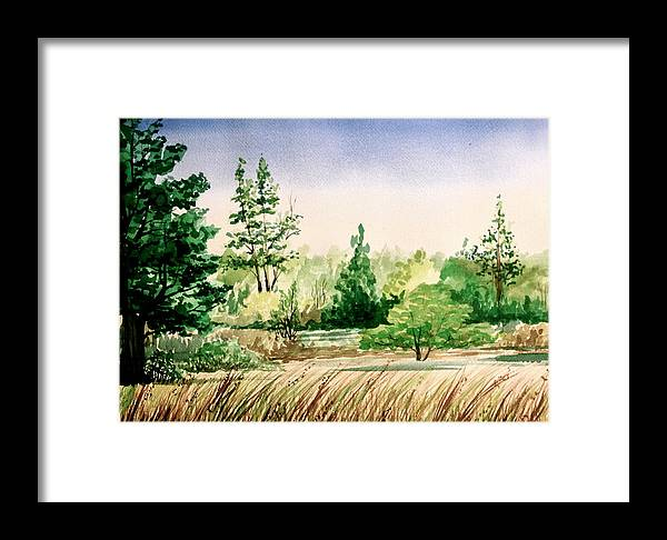 Water Color Framed Print featuring the painting Lake County Landscape by MB Matthews