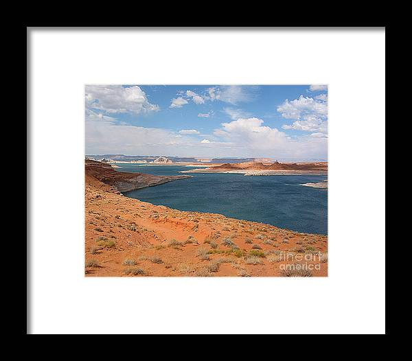 Lake Powell Framed Print featuring the photograph Lake Powell Landscape Panorama by Merton Allen