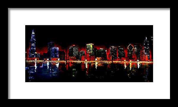 Cityscape Framed Print featuring the painting Lake Shore Drive by Melissa Wiater Chaney