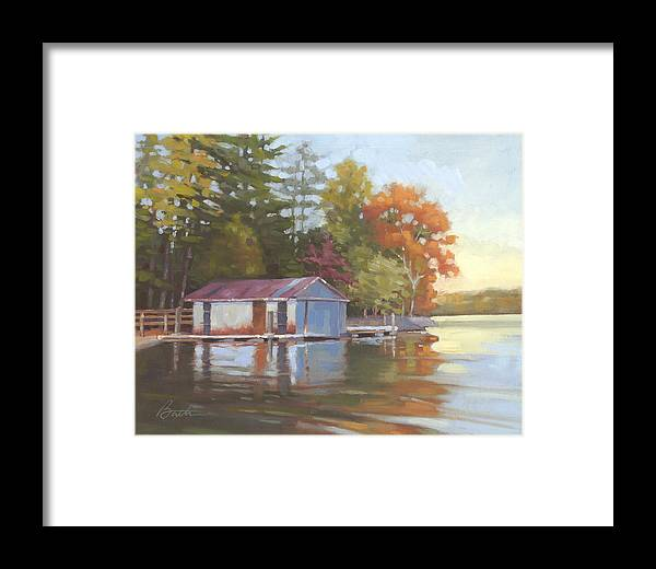 Boathouse Framed Print featuring the painting Lake Wylie Boathouse by Todd Baxter