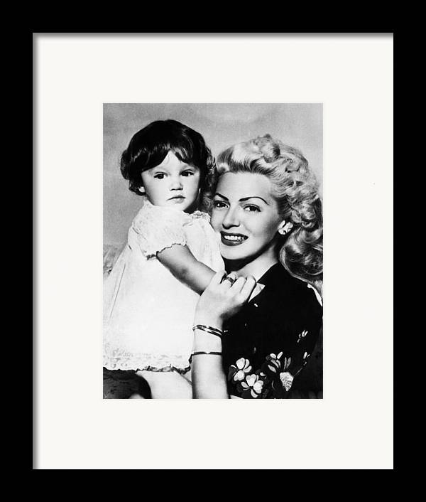 1940s Framed Print featuring the photograph Lana Turner Right, And Daughter Cheryl by Everett