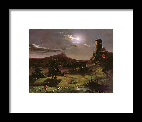 Ruin; Ruins; Round Tower; Night; Evening; Dark; Valley; Sheep; River; Medieval; Wooing; Lovers; Serenading; Serenade; Hudson River School; Romantic; Rustic; Nocturne; River; Moon; Burial Site; Memorial; Cross; Framed Print featuring the painting Landscape - Moonlight by Thomas Cole
