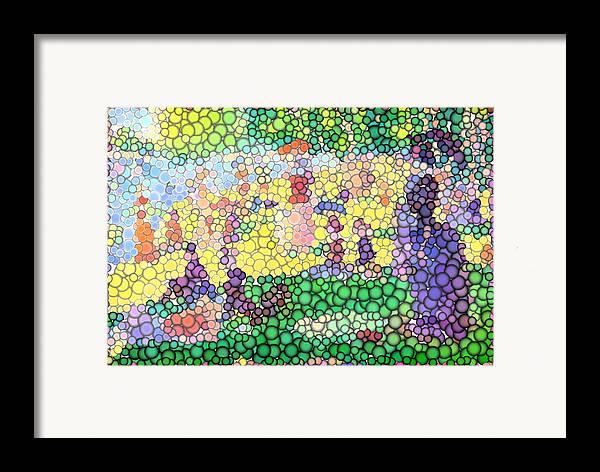 Sunday On La Grande Jatte Framed Print featuring the digital art Large Bubbly Sunday On La Grande Jatte by Mark Einhorn