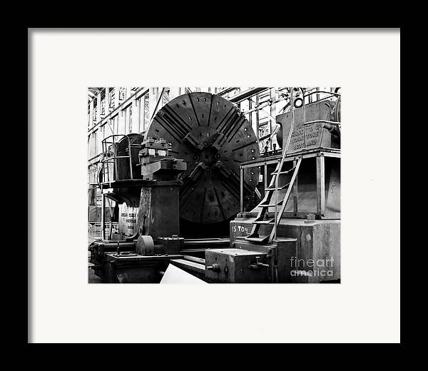 B&w Framed Print featuring the photograph Large Lathe by John Buxton